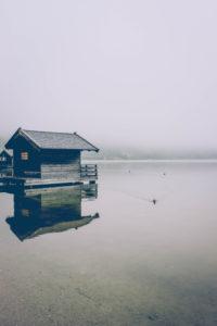 Hütte, See, Spiegelung
