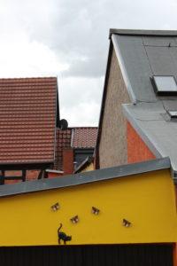 Häuser, Dächer, Fassade, gelb, Katze, Schmetterlinge