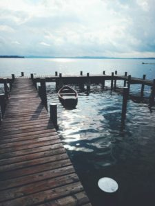 Lake, jetty, boat