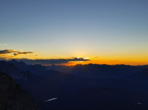 View from the Karwendel to sunset