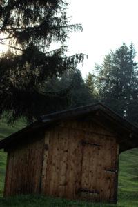 Deutschland, Bayern, Mittenwald, Wiese, Hütte