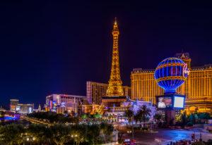 The USA, Nevada, Clark County, Las Vegas, Las Vegas Boulevard, The Strip, flamingo, Bally's, Paris Las Vegas, Eiffel Tower
