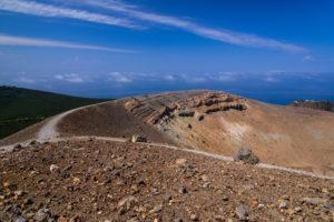 Italy, Sicily, Aeolian Islands, Vulcano, Gran Cratere, crater rim, hiking trail