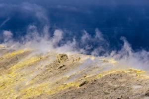 Italy, Sicily, Aeolian Islands, Vulcano, Gran Cratere, crater rim with fumaroles