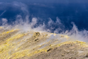Italy, Sicily, Aeolian Islands, Vulcano, Gran Cratere, crater rim with fumaroles