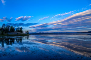 USA, Wyoming, Yellowstone National Park, Grant Village, Yellowstone Lake, view at campground