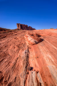 USA, Nevada, Clark County, Overton, Valley of Fire State Park, Fire Wave mit Gibraltar Rock