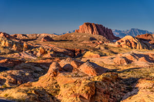 USA, Nevada, Clark County, Overton, Valley of Fire State Park, White Domes Scenic Byway mit Gibraltar Rock