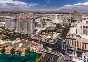 USA, Nevada, Clark County, Las Vegas, Las Vegas Boulevard, The Strip with Flamingo Road and Caesars Palace, view from the Paris Las Vegas Eiffel Tower