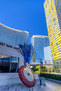 USA, Nevada, Clark County, Las Vegas, Las Vegas Boulevard, The Strip, CityCenter, Claes Oldenburg Sculpture