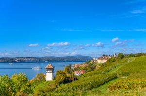 Germany, Baden-Württemberg, Lake Constance, Meersburg, Rebhäuschen, view from Kriegsgräberstätte Lerchenberg