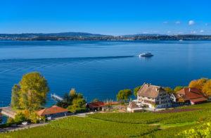 Germany, Baden-Württemberg, Lake Constance, Meersburg, Rebstock Haltnau, view from Kriegsgräberstätte Lerchenberg