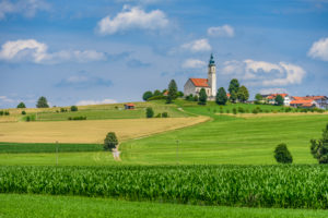 Germany, Bavaria, Upper Bavaria, Ebersberg district, Bruck, Alxing district, cultural landscape with town view