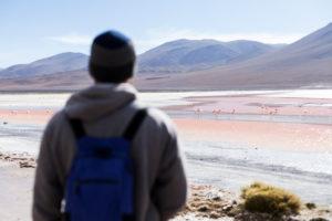 Bolivia, man in Eduardo Abaroa Andean Fauna National Reserve