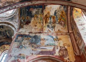 Wandmalereien in der Georgisch-Orthodoxen Georgskirche mit Szenen aus dem Leben Christus, mittelalterliche Klosterkomplex Gelati, UNESCO Weltkulturerbe, Region Imeretien, Georgien