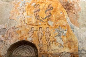 Wandmalerei zur biblischen Geschichte von Adam und Eva, Bischofskirche Nikortsminda, Racha Region, Georgien