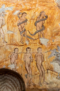 Mural painting on the biblical story of Adam and Eve, Nikortsminda Episcopal Church, Racha Region, Georgia