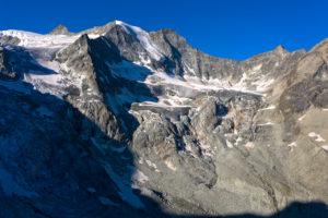 Pointes du Mourti mit hängender Gletscherzunge, Val d'Anniviers, Wallis, Schweiz