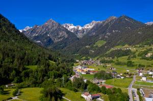Am Eingang zum Tal Val Ferret, Som la Proz, Orsières, Wallis, Schweiz