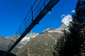 Charles Kuonen suspension bridge in back light, Randa, Valais, Switzerland