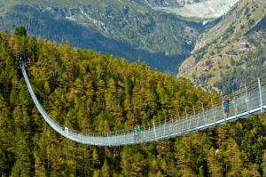 Charles Kuonen suspension bridge, longest pedestrian suspension bridge in the world, Randa, Valais, Switzerland