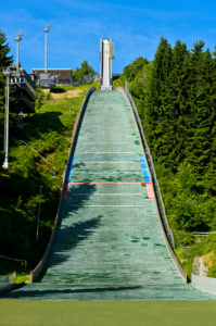 The Grosse Fichtelberg ski jump, Kurort Oberwiesenthal, Ore Mountains, Saxony, Germany
