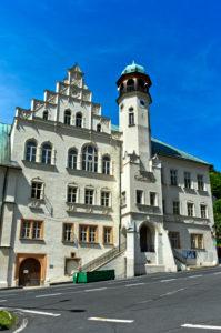 Renaissance-Rathaus, Jachymov, Joachimsthal, Montanregion Erzgebirge-Krusnohorí, Böhmen, Tschechien