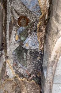 Erzengel, Wandmalerei aus dem 12. Jahrhundert, Narthex der Maria-Himmelfahrtskirche, Höhlenkloster Wardsia, Erusheti Gebirge, Meskheti, Georgien