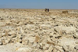 Herausgebrochene rohe Salzblöcke für die Weiterverarbeitung auf dem Assale Salzsee, traditioneller Abbau von Salz bei Hamadela, Danakil Depression, Afar Region, Äthiopien