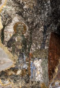 Szene aus dem Jüngsten Gericht, Wandmalerei aus dem 12. Jahrhundert, Narthex der Maria-Himmelfahrtskirche, Höhlenkloster Wardsia, Erusheti Gebirge, Meskheti, Georgien