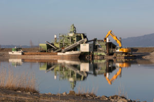 Dredger in the Rhine, water mirroring