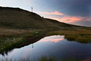 Summit, mirroring, summit cross, lake, sky, clouds