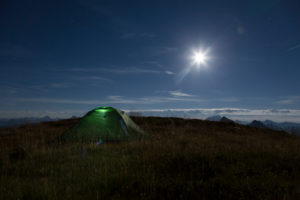 camping at full moon in the mountains, night heaven