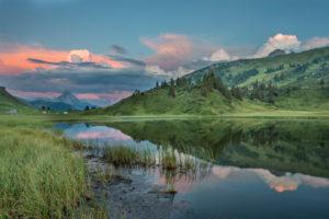 Kalbelesee, Biberkopf, clouds, mirroring