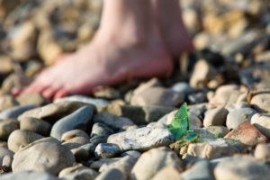 shards of glass, beach, foot, gravel