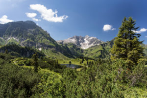Mountains, summits, Körbersee, wood, sky, clouds