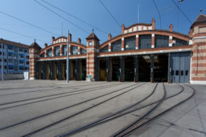 Garage, streetcar, track, gate, lines