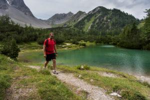 Hiker, mountain lake, mountains, summits, way