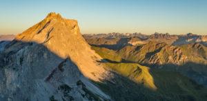 Drusenfluh, alpenglow, mountains view of Kirchlispitzen in the Silvretta