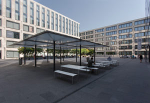 Inner courtyard with seating accommodation, Zurich PH, facade, building