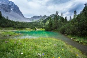 Summit, debris field, lake, flower meadow, mountain lake