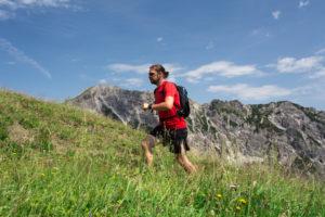 Runner, person, mountains, summits, meadow, upward