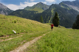 Mountains, person, runner, way