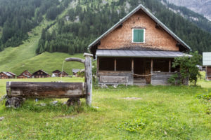 wooden well, house, Alp, meadow