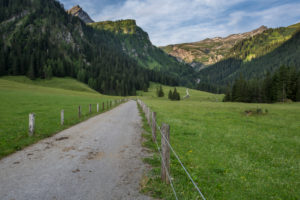 way, street, mountains, summits, Naafkopf, head of the valley
