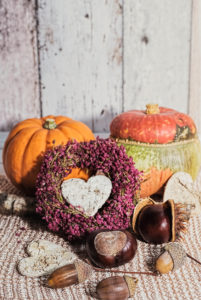 Autumnal still life with pumpkin, wreath made of erica, heart for decoration, and chestmothers and acorns