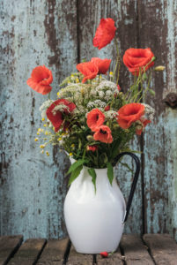 floral still life, wild flowers and poppy blossoms in old enamel pot in front of an old door,