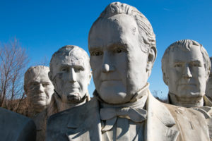 United States presidential heads parked out of amusement park / Presidents Heads in Croaker, Virginia