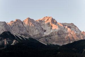 Sunrise in Grainau am Eibsee in Bavaria with alpine panorama