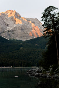 Sunrise in Grainau am Eibsee in Bavaria with alpine panorama